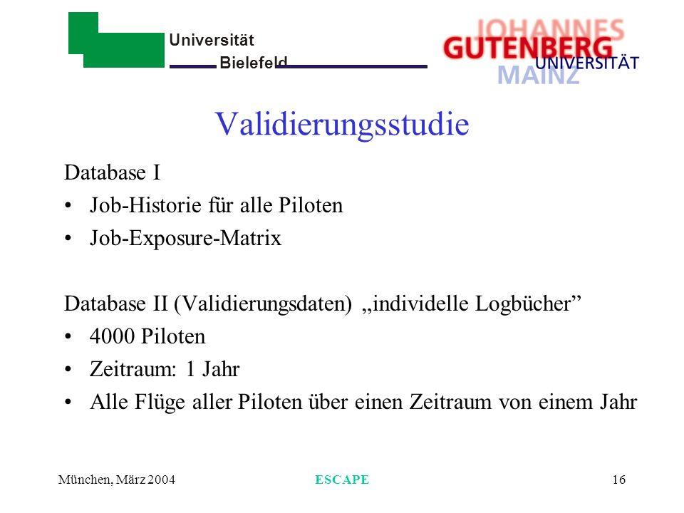 Validierungsstudie Database I Job-Historie für alle Piloten