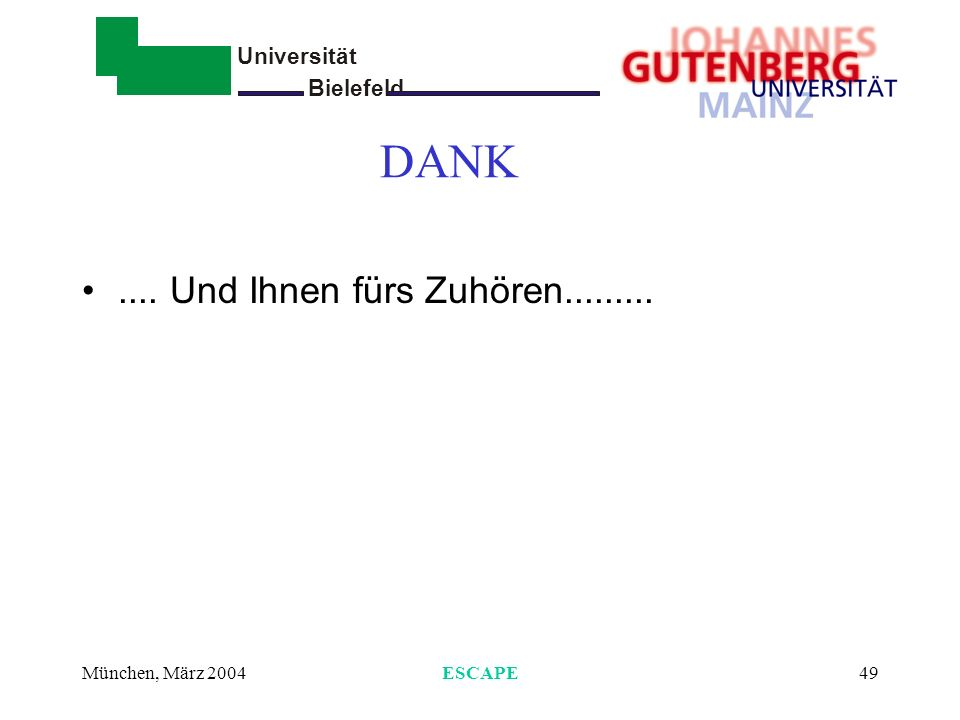 DANK .... Und Ihnen fürs Zuhören......... München, März 2004 ESCAPE