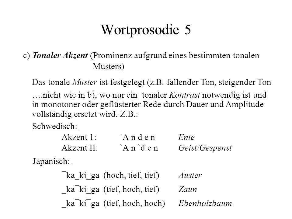 Wortprosodie 5 c) Tonaler Akzent (Prominenz aufgrund eines bestimmten tonalen Musters)
