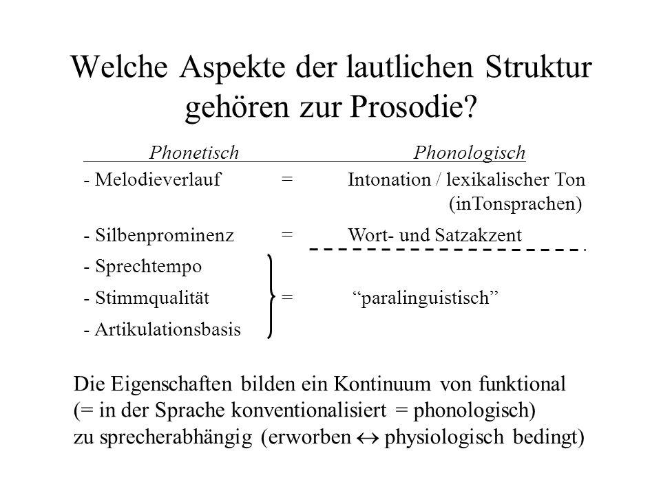 Welche Aspekte der lautlichen Struktur gehören zur Prosodie