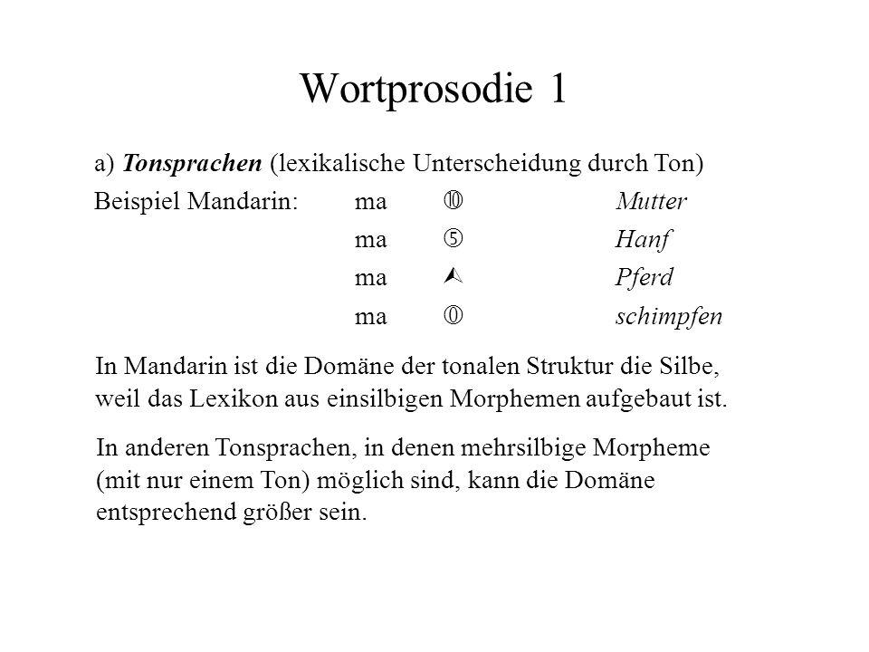 Wortprosodie 1 a) Tonsprachen (lexikalische Unterscheidung durch Ton)