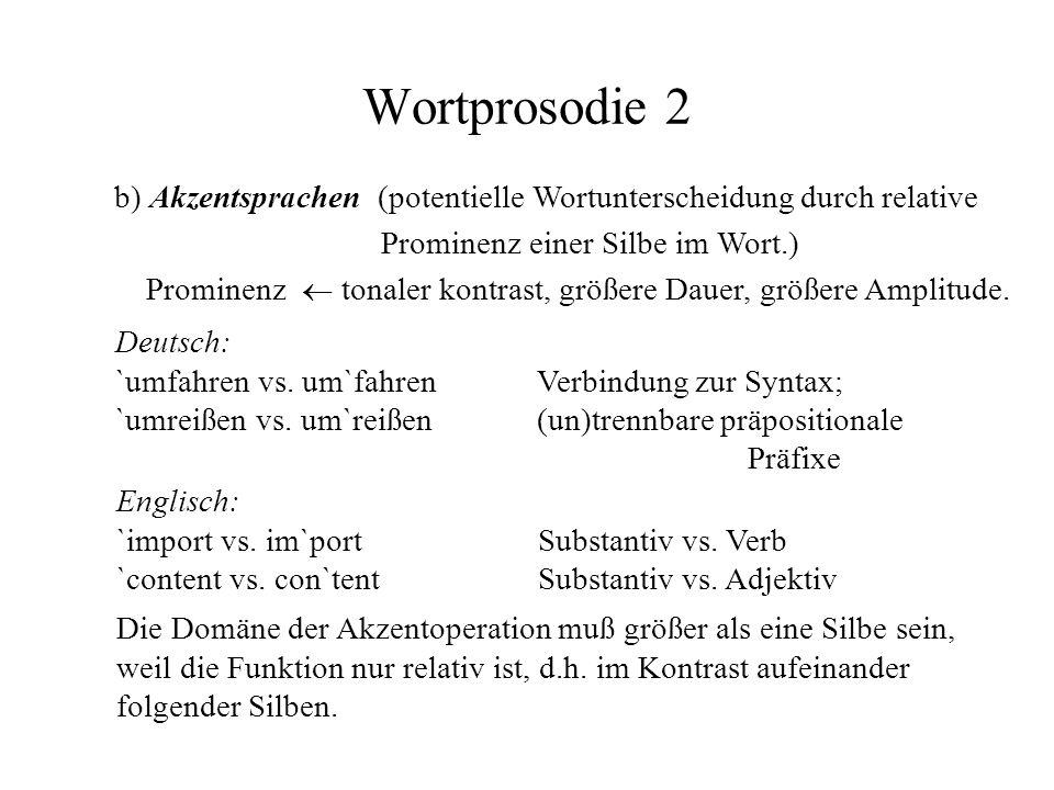 Wortprosodie 2 b) Akzentsprachen (potentielle Wortunterscheidung durch relative Prominenz einer Silbe im Wort.)