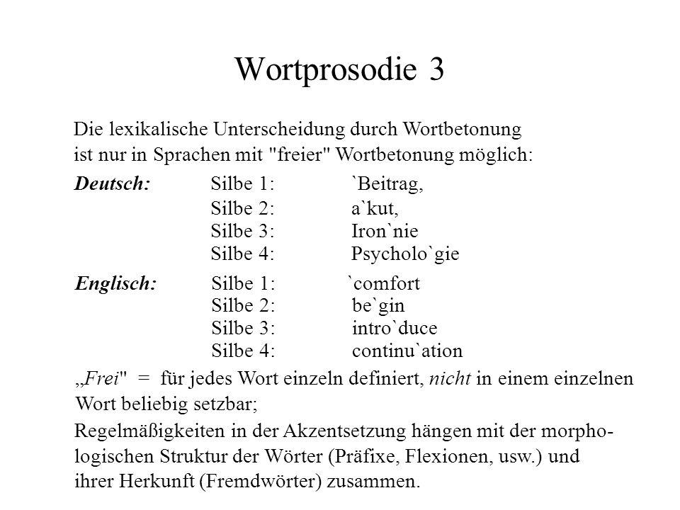 Wortprosodie 3 Die lexikalische Unterscheidung durch Wortbetonung ist nur in Sprachen mit freier Wortbetonung möglich: