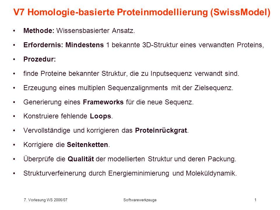 V7 Homologie-basierte Proteinmodellierung (SwissModel)