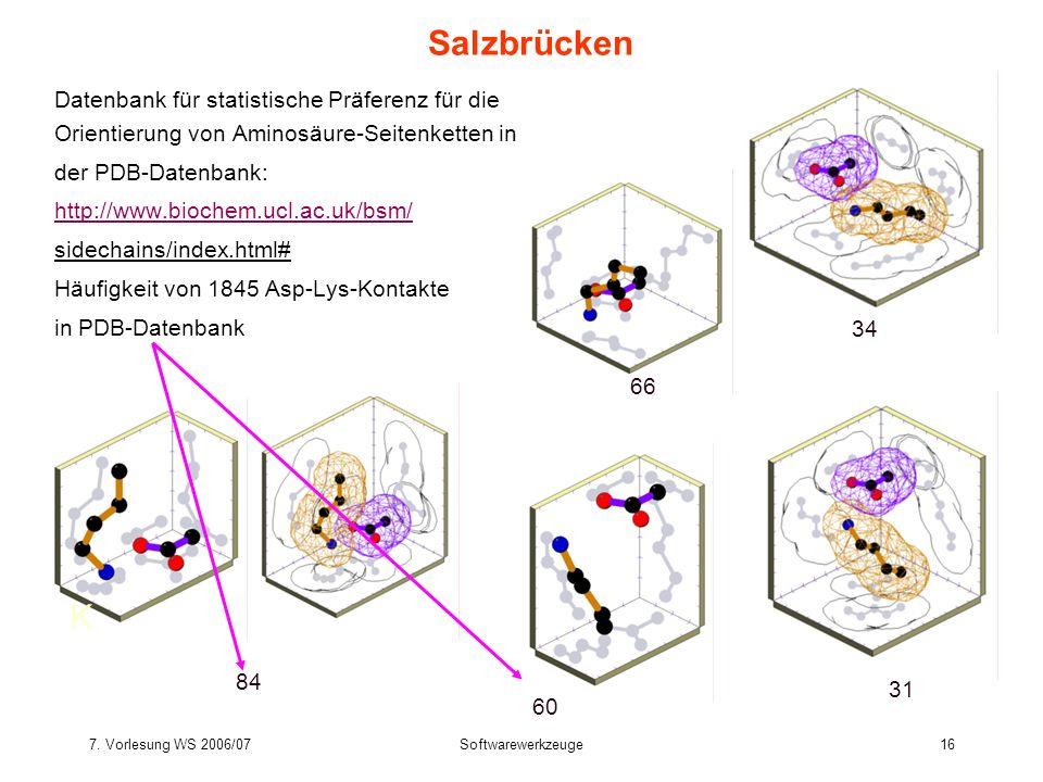 SalzbrückenDatenbank für statistische Präferenz für die Orientierung von Aminosäure-Seitenketten in.