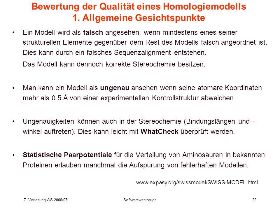 Bewertung der Qualität eines Homologiemodells 1