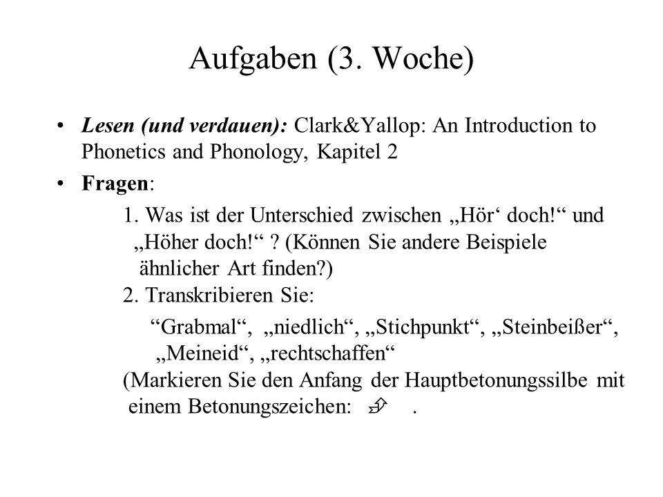 Aufgaben (3. Woche) Lesen (und verdauen): Clark&Yallop: An Introduction to Phonetics and Phonology, Kapitel 2.