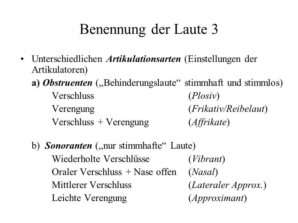Benennung der Laute 3 Unterschiedlichen Artikulationsarten (Einstellungen der Artikulatoren)