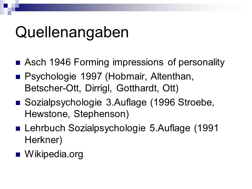 Quellenangaben Asch 1946 Forming impressions of personality