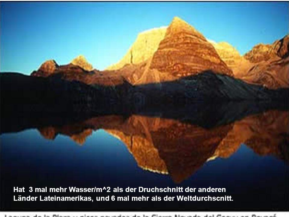 Hat 3 mal mehr Wasser/m^2 als der Druchschnitt der anderen Länder Lateinamerikas, und 6 mal mehr als der Weltdurchscnitt.