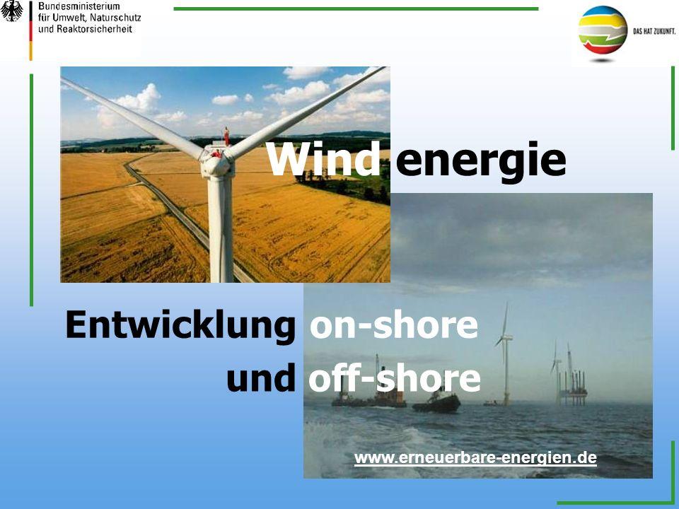 Wind energie Entwicklung on-shore und off-shore