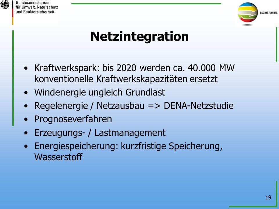 NetzintegrationKraftwerkspark: bis 2020 werden ca. 40.000 MW konventionelle Kraftwerkskapazitäten ersetzt.