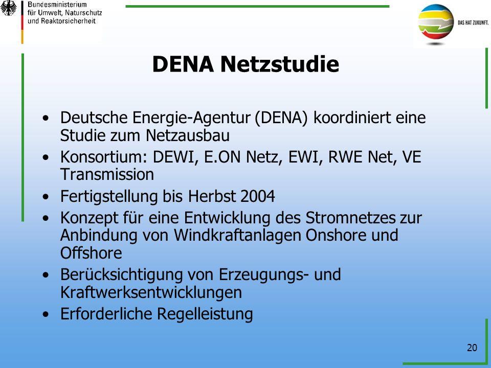 DENA NetzstudieDeutsche Energie-Agentur (DENA) koordiniert eine Studie zum Netzausbau. Konsortium: DEWI, E.ON Netz, EWI, RWE Net, VE Transmission.