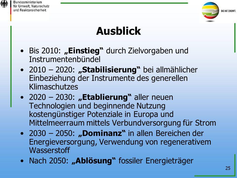 """Ausblick Bis 2010: """"Einstieg durch Zielvorgaben und Instrumentenbündel."""