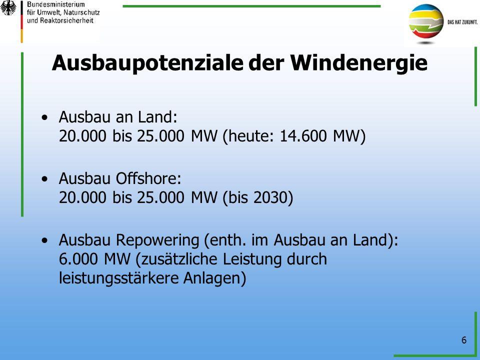 Ausbaupotenziale der Windenergie
