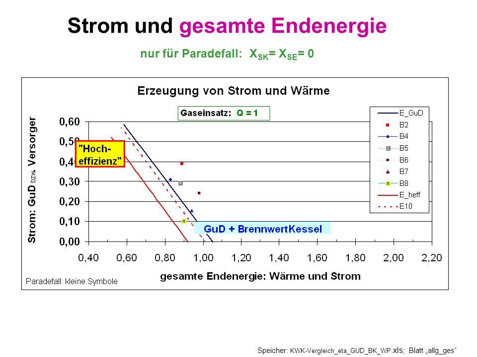 Strom und gesamte Endenergie nur für Paradefall: XSK= XSE= 0