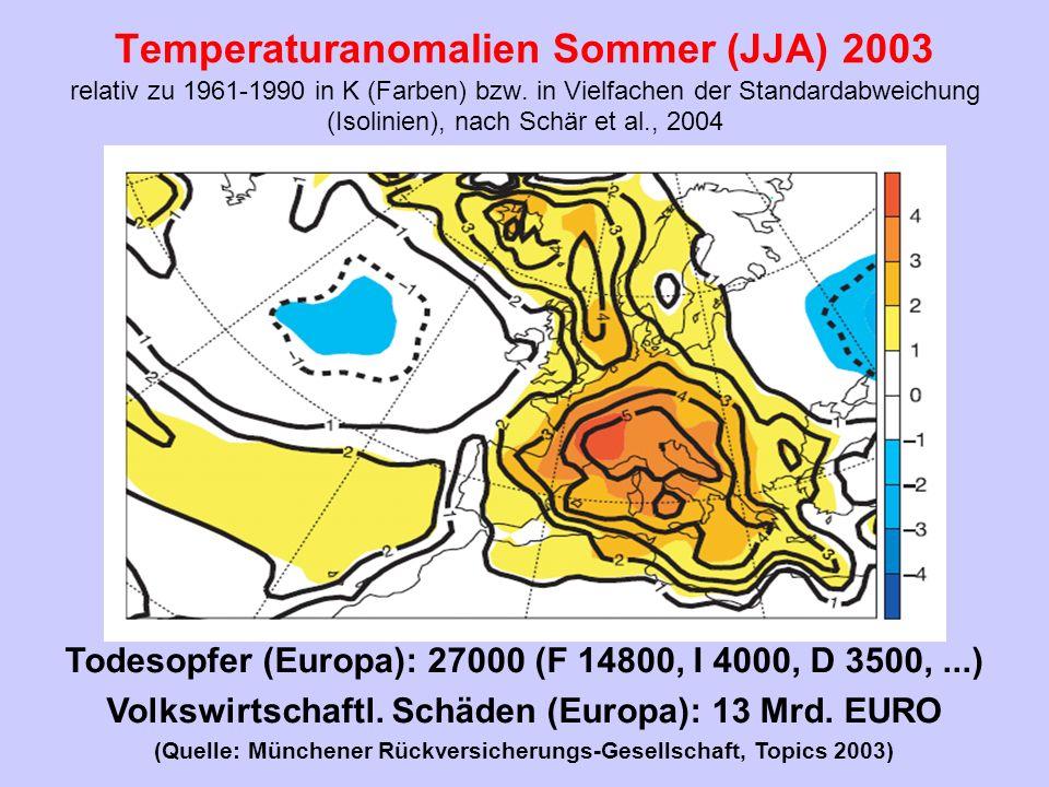 Temperaturanomalien Sommer (JJA) 2003 relativ zu 1961-1990 in K (Farben) bzw. in Vielfachen der Standardabweichung (Isolinien), nach Schär et al., 2004