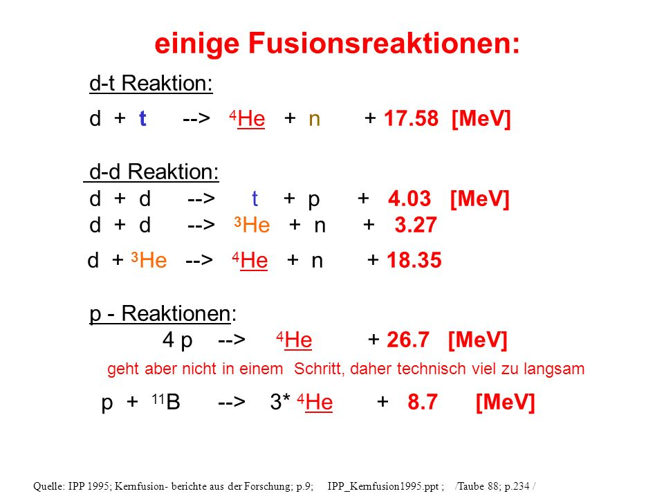 einige Fusionsreaktionen: