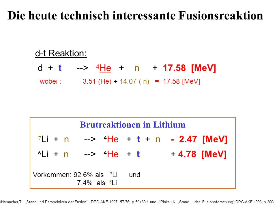 Die heute technisch interessante Fusionsreaktion