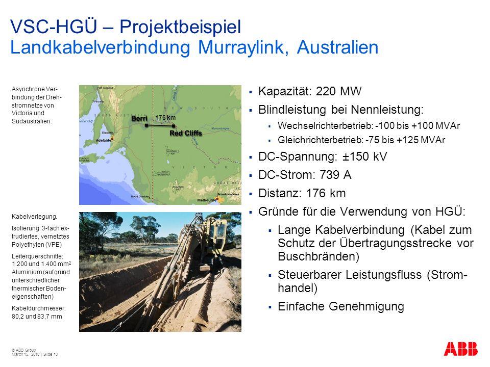 VSC-HGÜ – Projektbeispiel Landkabelverbindung Murraylink, Australien
