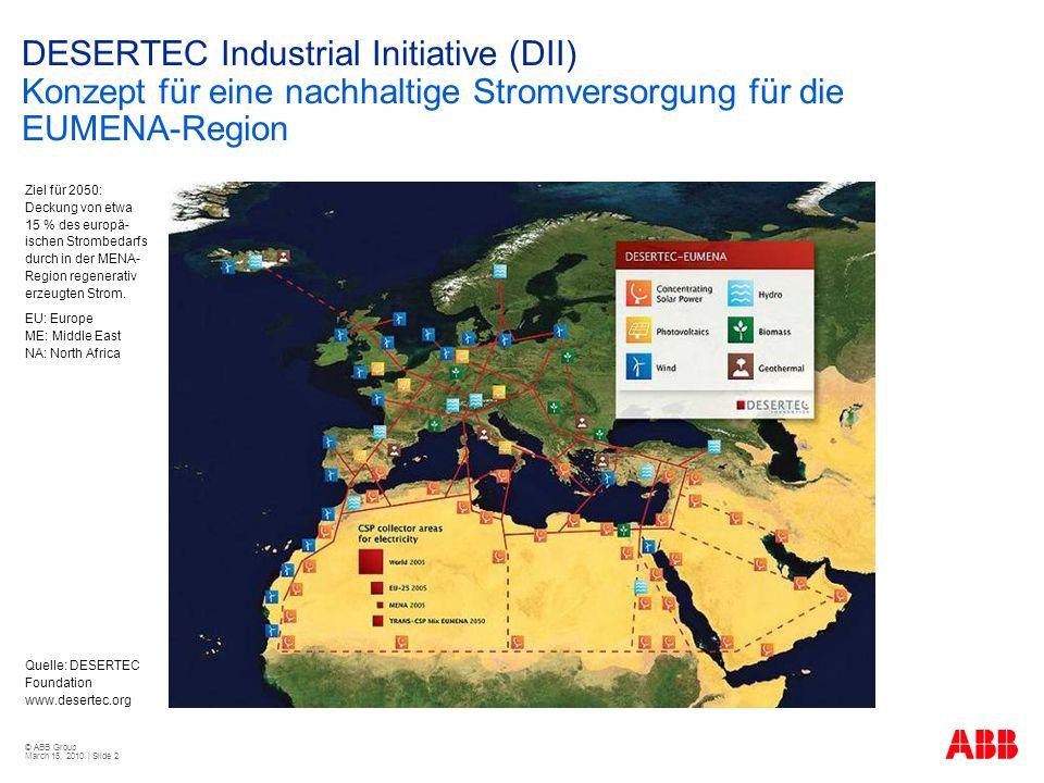 DESERTEC Industrial Initiative (DII) Konzept für eine nachhaltige Stromversorgung für die EUMENA-Region