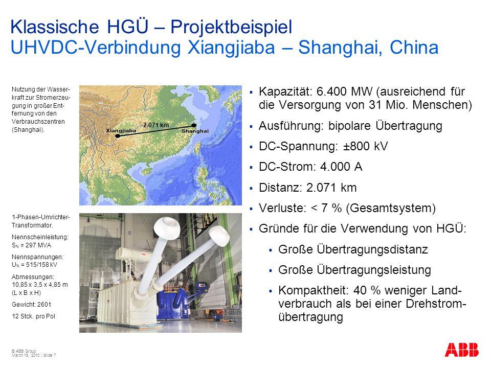 Klassische HGÜ – Projektbeispiel UHVDC-Verbindung Xiangjiaba – Shanghai, China