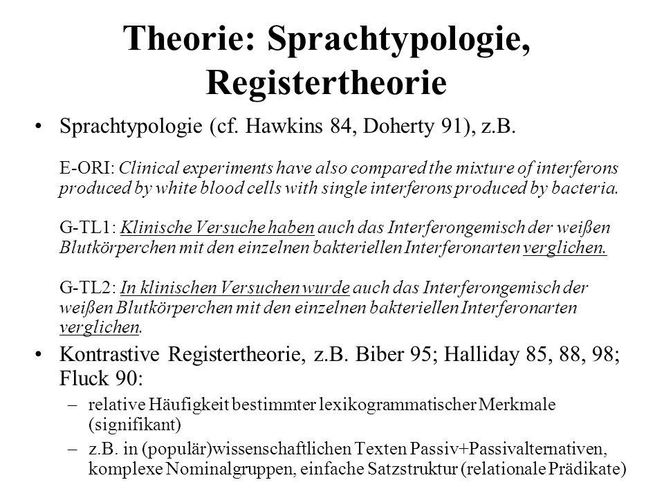 Theorie: Sprachtypologie, Registertheorie