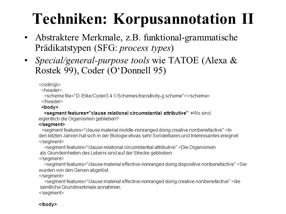 Techniken: Korpusannotation II