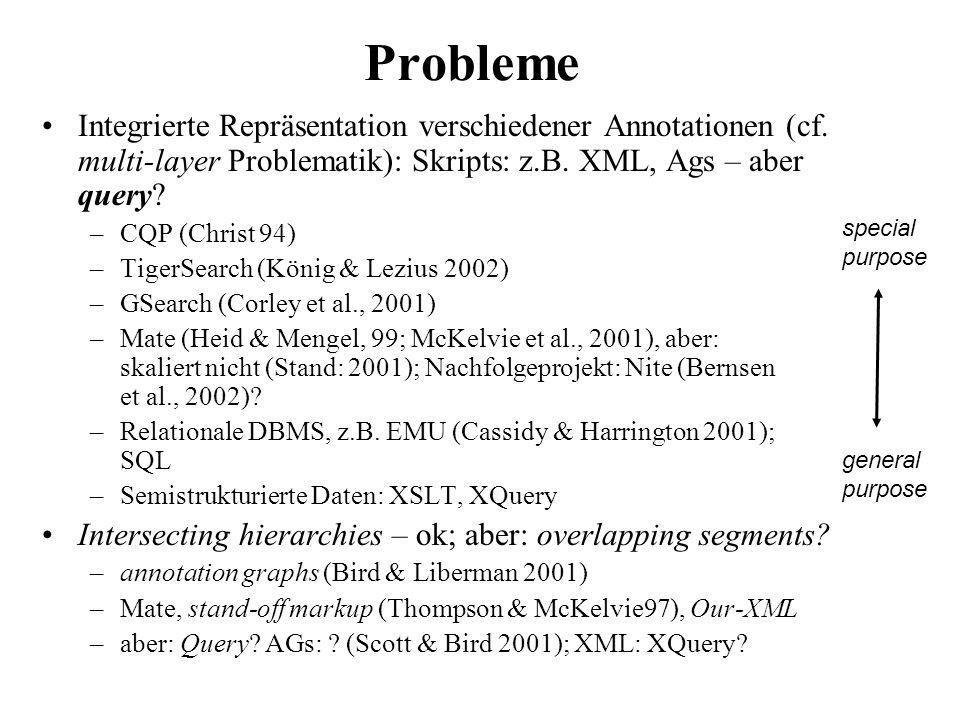 Probleme Integrierte Repräsentation verschiedener Annotationen (cf. multi-layer Problematik): Skripts: z.B. XML, Ags – aber query