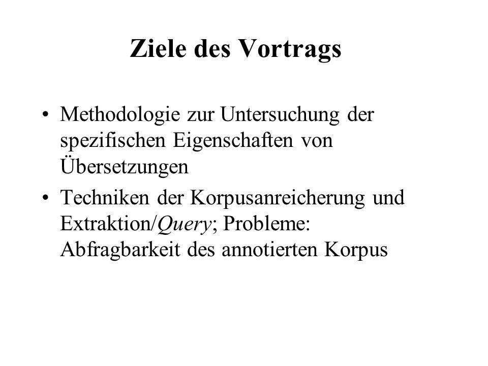 Ziele des Vortrags Methodologie zur Untersuchung der spezifischen Eigenschaften von Übersetzungen.