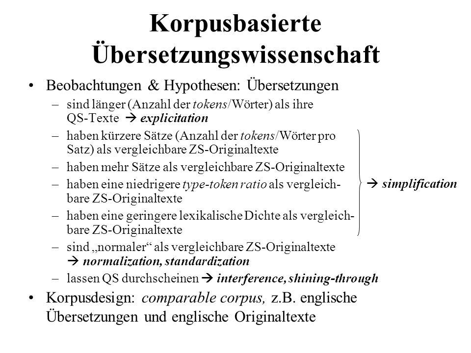 Korpusbasierte Übersetzungswissenschaft