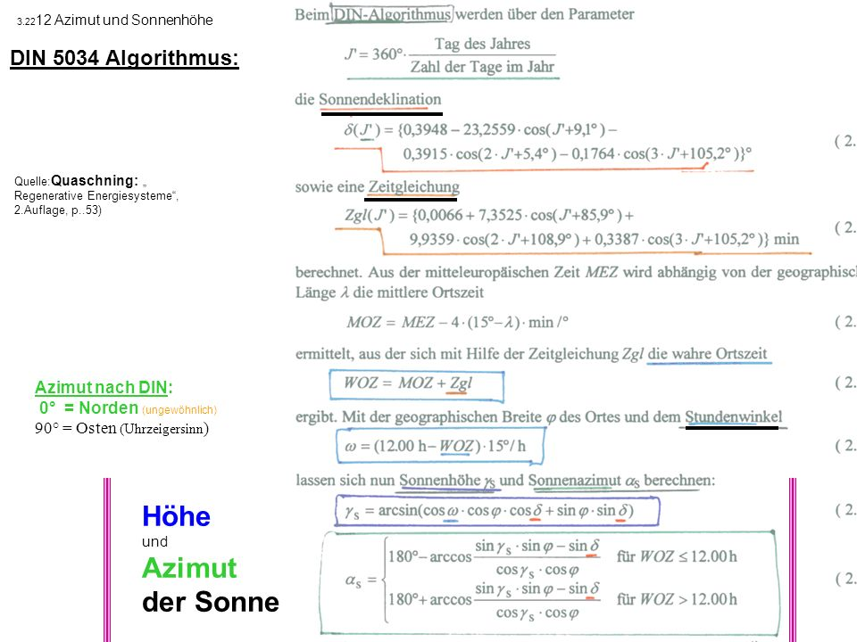 Höhe Azimut der Sonne DIN 5034 Algorithmus: Azimut nach DIN: