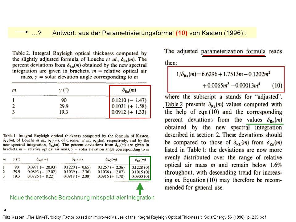 … Antwort: aus der Parametrisierungsformel (10) von Kasten (1996) :
