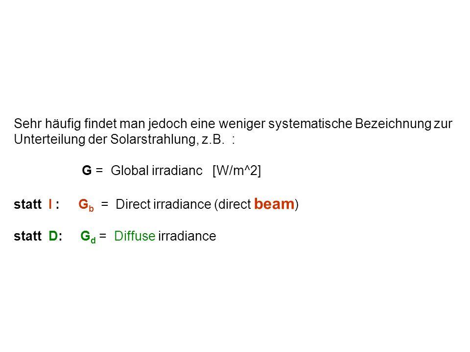 Sehr häufig findet man jedoch eine weniger systematische Bezeichnung zur Unterteilung der Solarstrahlung, z.B. :