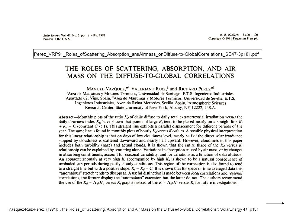 "Vasquez-Ruiz-Perez (1991): ""The Roles_of Scattering, Absorption and Air Mass on the Diffuse-to-Global Correlations ; SolarEnergy 47, p181"