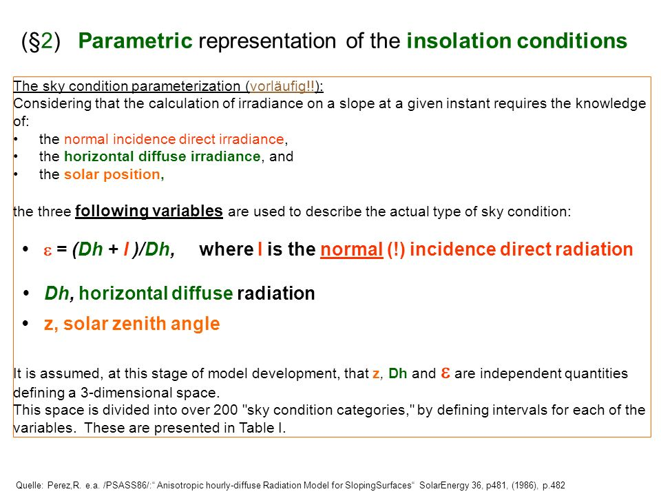 (§2) Parametric representation of the insolation conditions