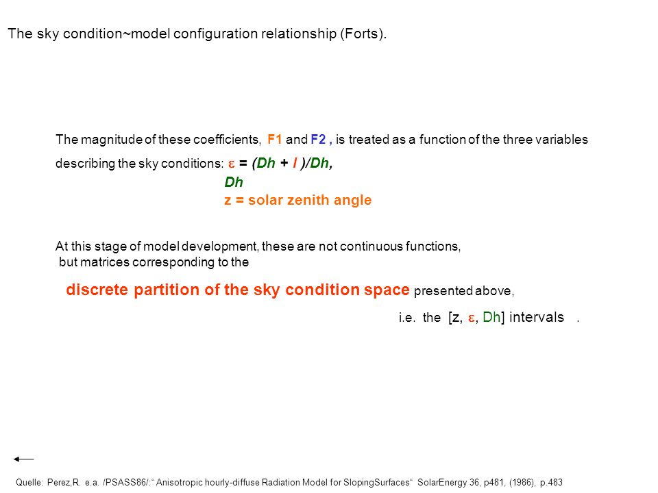 The sky condition~model configuration relationship (Forts).