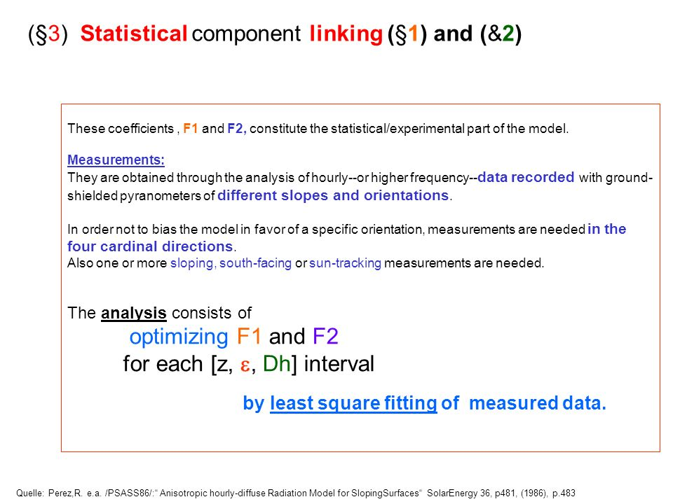 (§3) Statistical component linking (§1) and (&2)