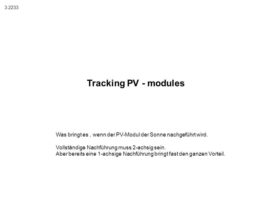 3.2233 Tracking PV - modules. Was bringt es , wenn der PV-Modul der Sonne nachgeführt wird. Vollständige Nachführung muss 2-achsig sein.