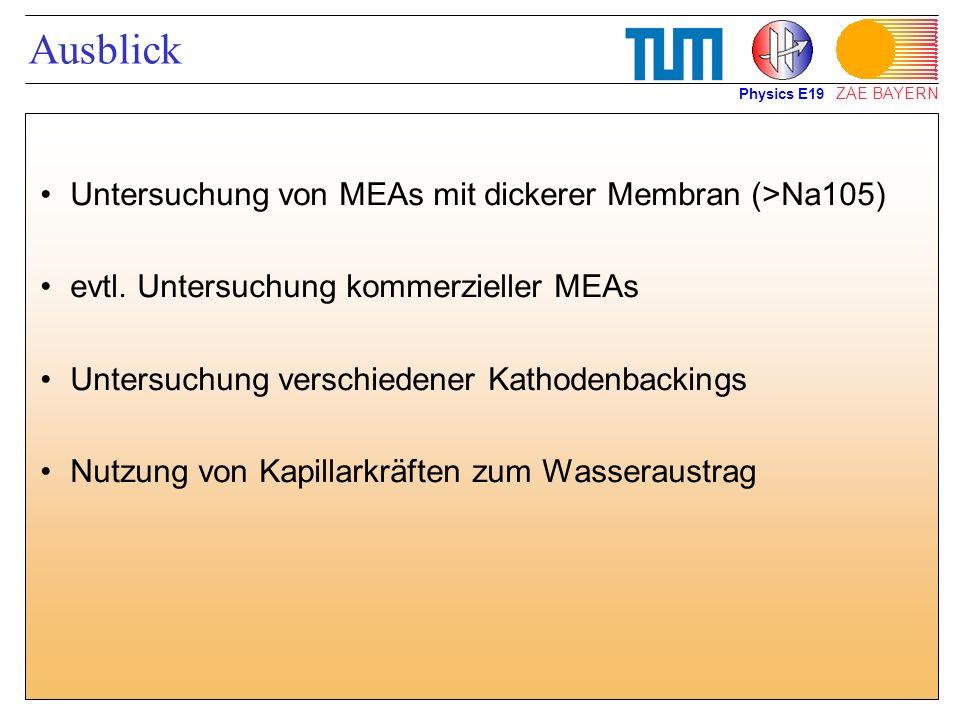 Ausblick Untersuchung von MEAs mit dickerer Membran (>Na105)
