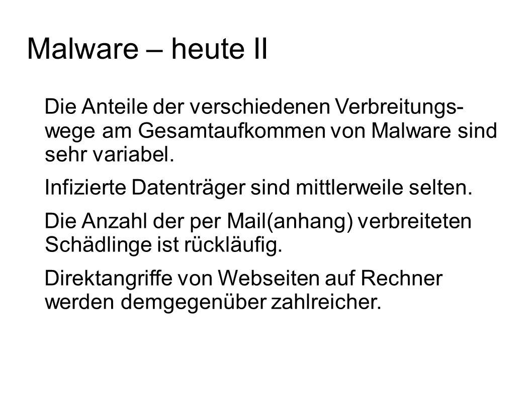 Malware – heute II Die Anteile der verschiedenen Verbreitungs- wege am Gesamtaufkommen von Malware sind sehr variabel.