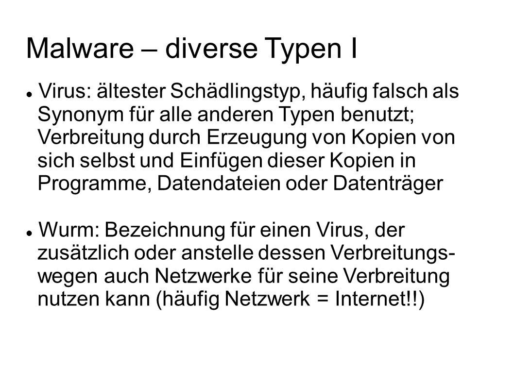 Malware – diverse Typen I