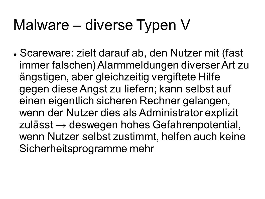 Malware – diverse Typen V