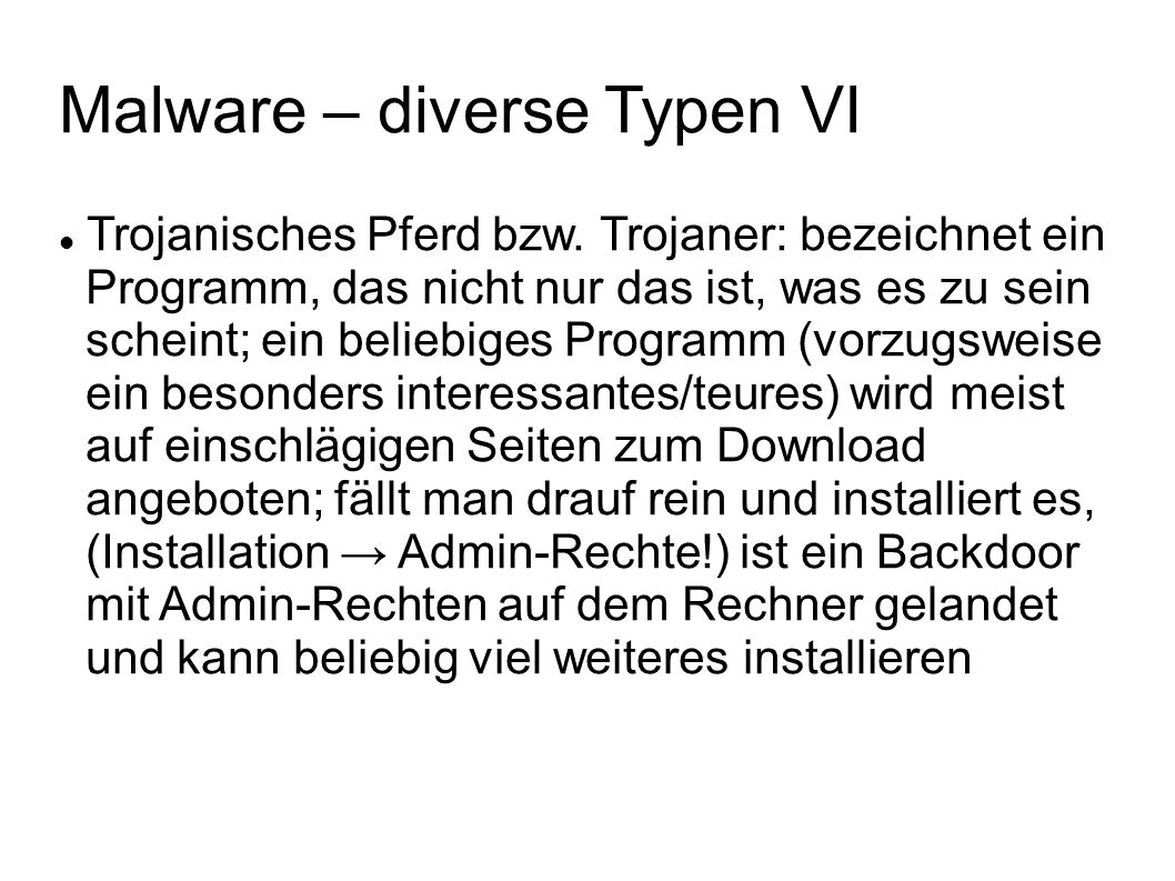 Malware – diverse Typen VI