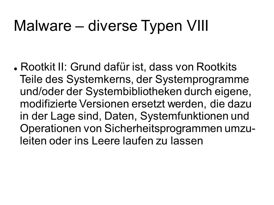 Malware – diverse Typen VIII