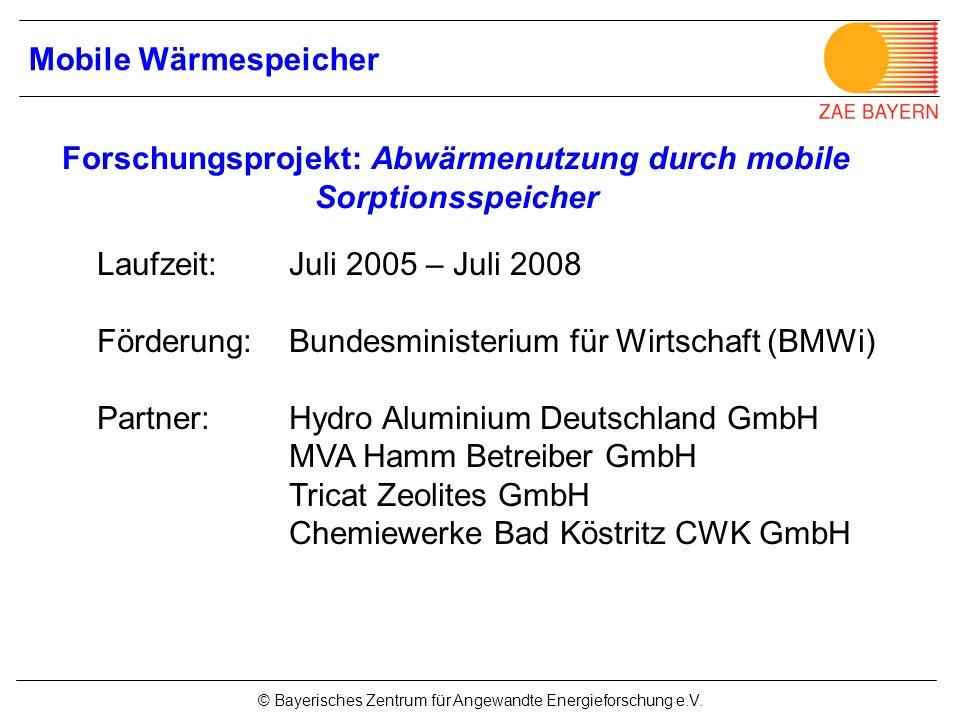 Forschungsprojekt: Abwärmenutzung durch mobile Sorptionsspeicher