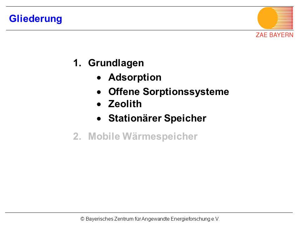 Gliederung Grundlagen.  Adsorption.  Offene Sorptionssysteme  Zeolith.  Stationärer Speicher.