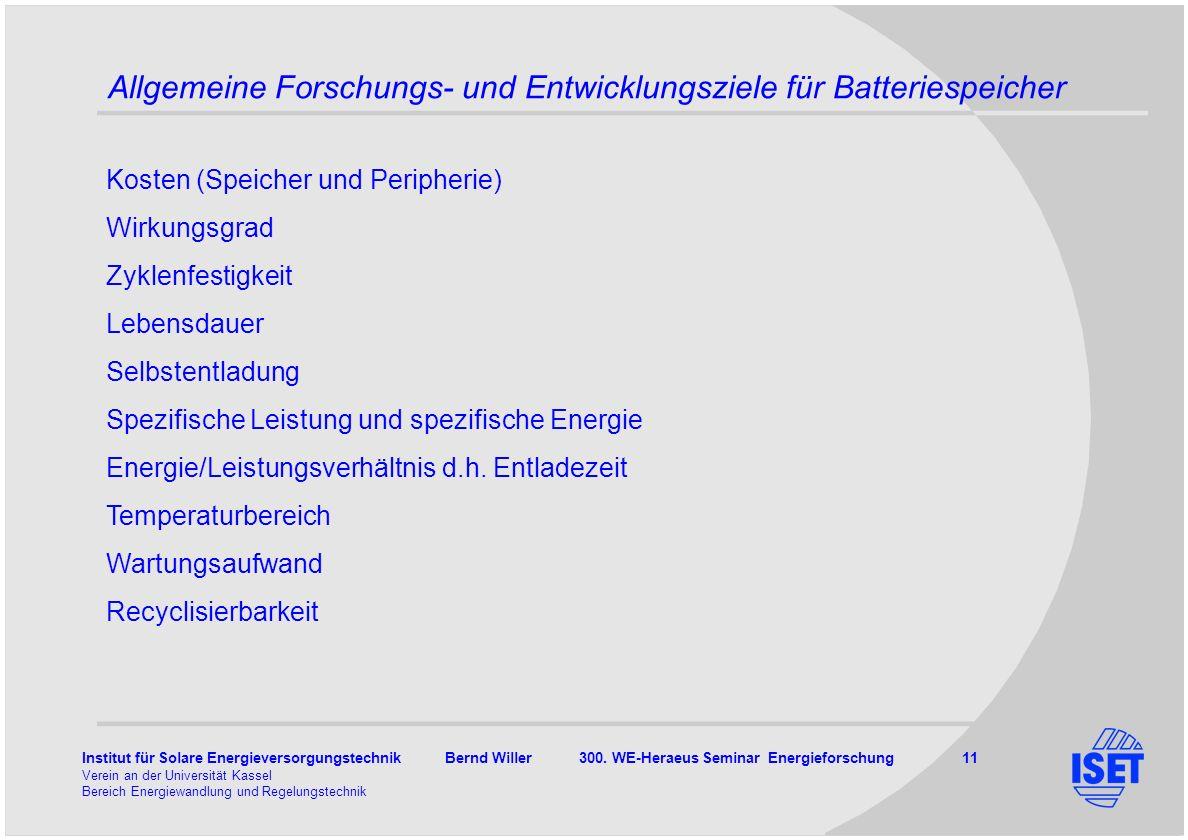 Allgemeine Forschungs- und Entwicklungsziele für Batteriespeicher