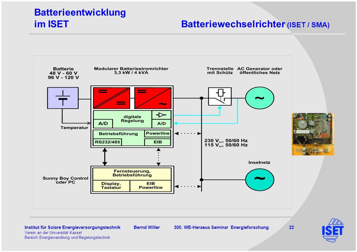 Batterieentwicklung im ISET Batteriewechselrichter (ISET / SMA) 3kW-bidirektional 48V, 96 V 2 Rechner n=92.