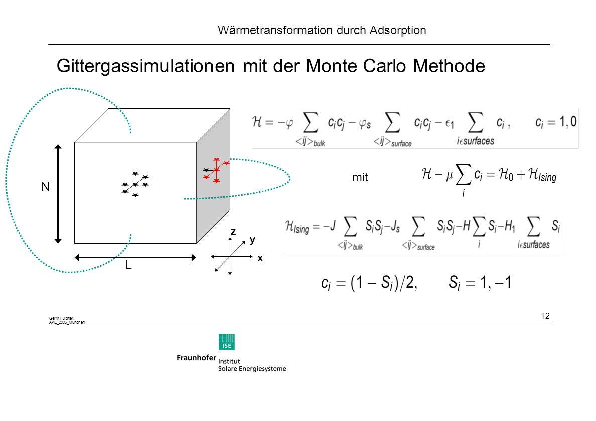 Gittergassimulationen mit der Monte Carlo Methode